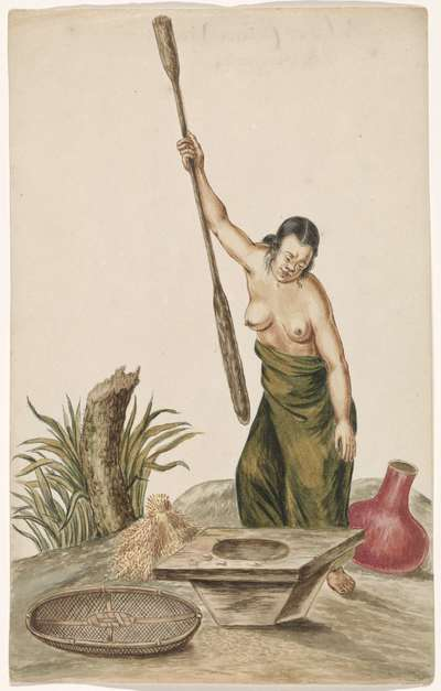 Vrouw met rijststamper, rijstblok, zeef en kruik