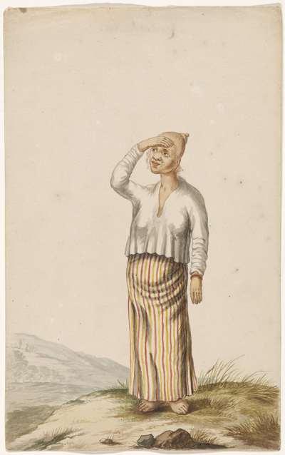 Albinovrouw met hand voor de ogen