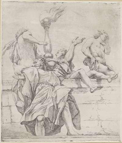 Apostel en drie engelen; Koepeldecoraties door Correggio in de S. Giovanni Evangelista in Parma