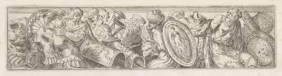 Fries met wapens, een gevangene en twee oosterse figuren; Figuren tussen wapens en vazen