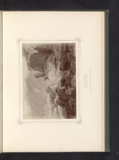 Fotoreproductie van een schilderij van de Grimselpas met ezels met bepakking; Auf der Grimsel. Saumpfad nach der Hauseck