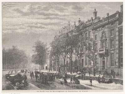De bocht van de Heerengracht te Amsterdam bij winter