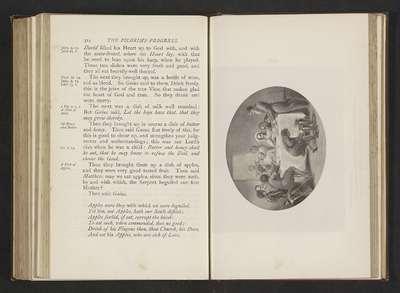 """Fotoreproductie van een illustratie door Thomas Stothard voor Eens Christens reize naar de Eeuwigheid door John Bunyan; """"Then said Gaius: 'Apples were they with we were beguiled vet sin, not apples, hath our souls defiled.'"""""""