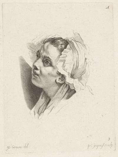 Studieblad: gezicht van een jonge vrouw; 1r Cahier de Têtes de différens Caracteres