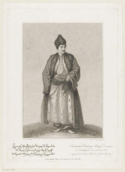 Portret van drogman Emmanuel Persiany; Portretten van mannen werkzaam bij de Turkse ambassade in Engeland