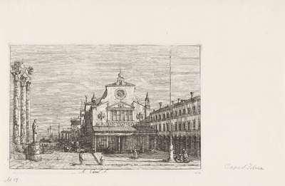 Fantasiegezicht op de S. Giacomo di Rialto; Gezichten op bestaande en verzonnen plaatsen; Vedute altre prese da i Luoghi altre ideate da Antonio Canal