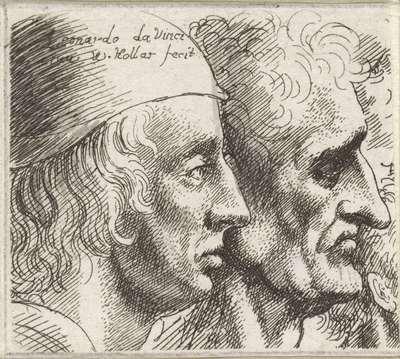 Twee mannenkoppen en profil; Varie figurae et probae; Karikaturen, koppen en misvormingen naar Leonardo da Vinci