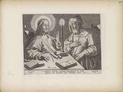 Christus in gesprek met Nikodemus; Gebeurtenissen uit het leven van Christus; Theatrum Biblicum Hoc Est Historiae Sacrae Veteris et Novi Testamenti Tabulis Aeneis Expressae