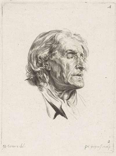 Studieblad: gezicht van een oudere man; 1r Cahier de Têtes de différens Caracteres