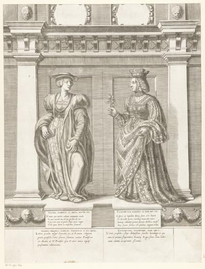 Dubbelportret van Johanna van Pfirt en Elisabeth van Luxemburg; Portretten van leden van het Oostenrijkse Huis; Austriacae gentis imaginum