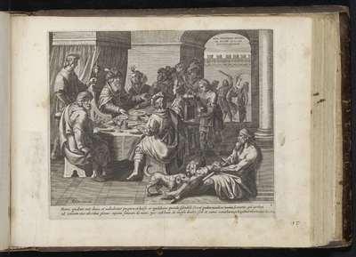 Lazarus bedelt aan de feestdis van de rijke man; Van den Rycken Man en Lasarus; Gelijkenis van de rijke man en de arme Lazarus; Den Grooten Figuer-Bibel (...)