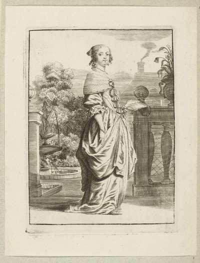Dame op bordes, gekleed volgens de mode omstreeks 1660