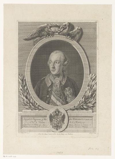 Portret van Jozef II in een ovale lijst met een adelaar
