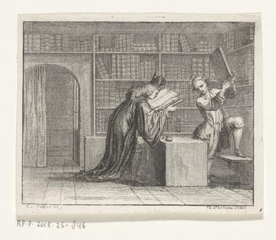 Geestelijke bij een boekhandelaar; Les deux livres
