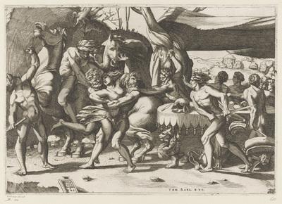 Roof van een vrouw door man en sater; Strijd tussen de Lapithen en Centauren