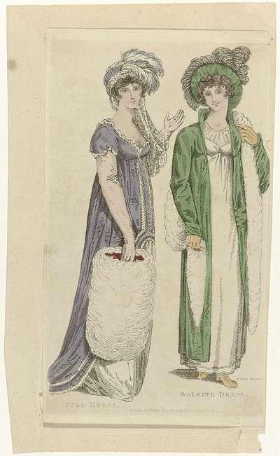 Ladies Monthly Museum, 1 january 1805 : Full Dress. Walking Dress.
