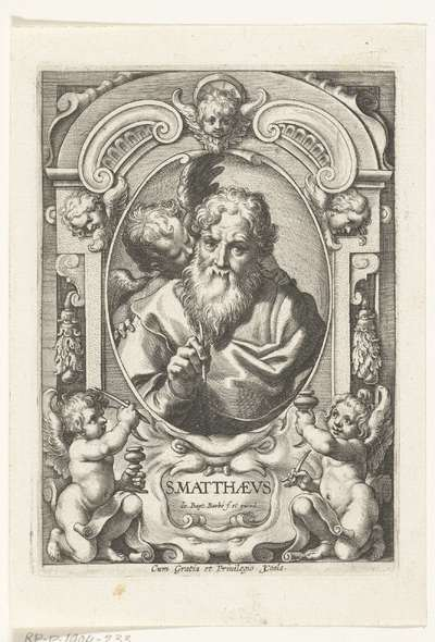 Evangelist Mattheus met engel in omlijsting met architectuur ornamenten; S. Matthaevs; SS. Apostolorum et Evangelistorum Icones