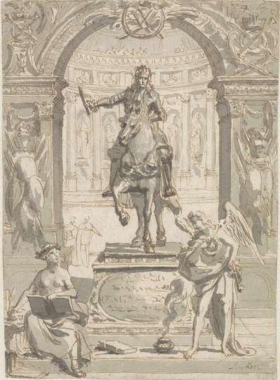 Stadhouder-koning Willem III te paard met allegorische figuren; verworpen ontwerp voor het frontispiece van: Lukas Rotgans, Wilhem De Derde (Amsterdam 1698)