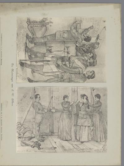 Twee fotoreproducties van tekeningen, voorstellende acteurs stellen een repetitieschema vast en een actrice wordt aangekleed voor een optreden; Die Meininger von C. W. Allers