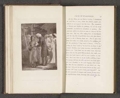 Fotoreproductie van een prent door Thomas Stothard, voorstellend een illustratie voor The Vicar of Wakefield door Oliver Goldsmith; The Vicar taking leave of his eldest Son