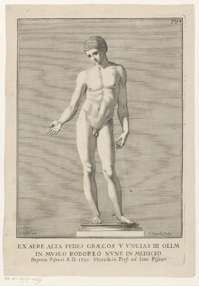 Antiek sculptuur van naakte man; Ex aere alta pedes graesos v vncias III olim in Museo Roboreo nunc in mediceo