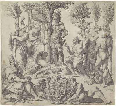 Hertog van Mantua met de zes voornaamste heidense goden