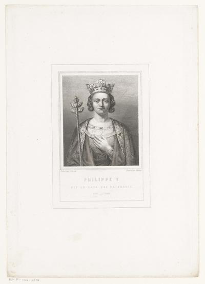 Portret van Filips V, koning van Frankrijk; Philippe V dit Le Long. Roi de France. 1316-1322