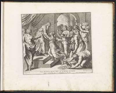 Koningin van Seba brengt Salomo geschenken; Schilderingen in de Loggia van Rafaël; Imagines Veteris ac Novi Testamenti; Rafaël Bijbel