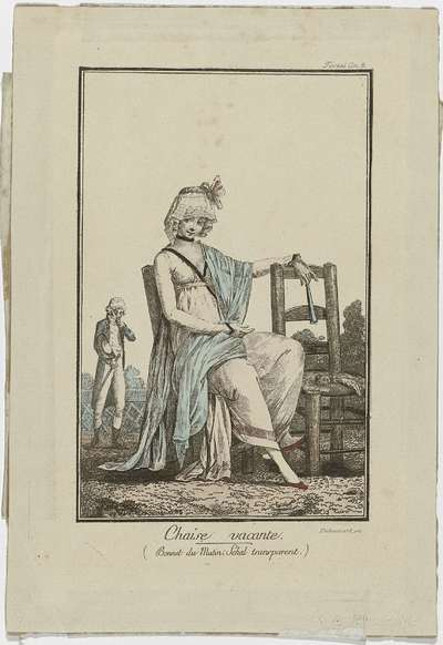 Modes et Manières du Jour, 1800-1801, latere druk van No: 4:  Chaise vacant (...)