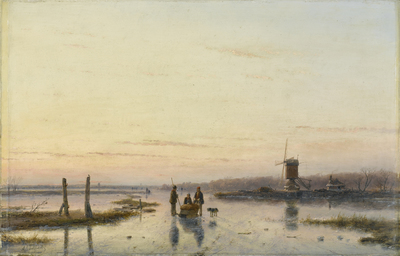 Image from object titled Windmill beside a frozen river