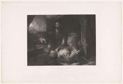"""""""Deer stalking in the Highlands. The poucher's bothij'. Naar Edwin Landseer, met adressen van Boys en Graves en Gambart"""
