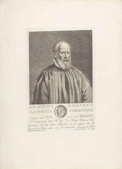 Portret van Giovanni Battista Adriani; Portretten van beroemde Italianen met wapenschild in ondermarge