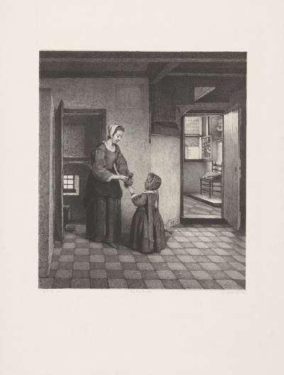 Vrouw met een kind in een kelderkamer