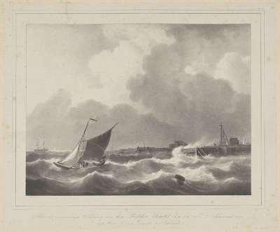 Zeilboot op hoge golven bij een haven
