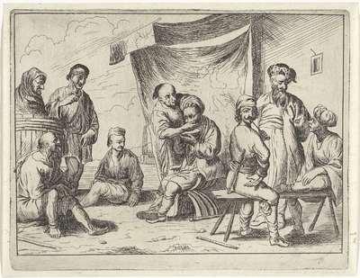 Barbier scheert een zeeman; Haventaferelen