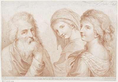 Twee jonge vrouwen en een oude man; Ciprianis beginselen van het tekenen; Ciprianis rudiments of drawing