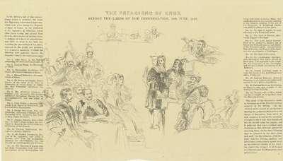 "Sleutel bij de prent ""The Preaching of John Knox."""