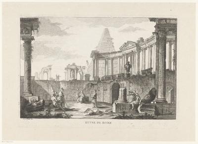 Soldaten en antieke ruïnes; Ruine de Rome