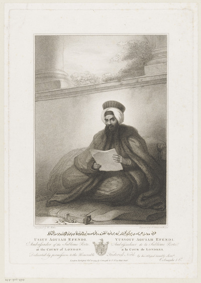Portret van ambassadeur Yussouf Aguiah Efendi; Portretten van mannen werkzaam bij de Turkse ambassade in Engeland