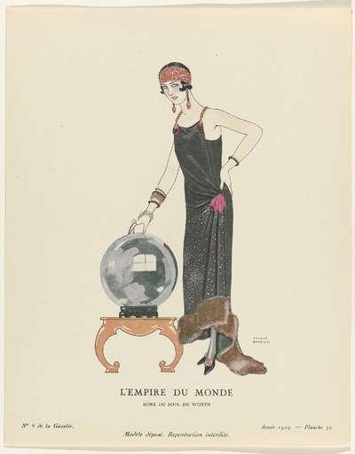 Gazette du Bon Ton. Art- Modes & Frivolités, 1924 - No. 6 : L'Empire du monde / Robe du soir, de Worth