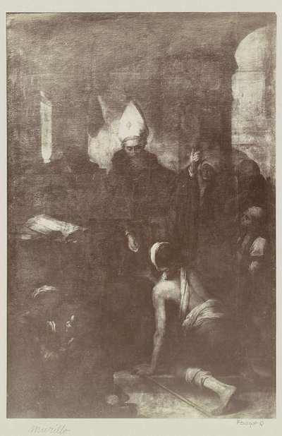 Fotoreproductie van een schilderij door Bartolomé Esteban Murillo, voorstellend Thomas van Villanova die aalmoezen uitdeelt