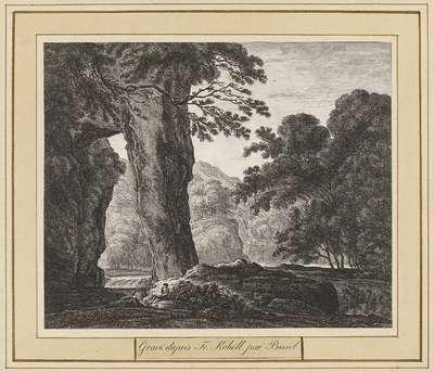 Bergachtig landschap met twee figuren onder een grote rots; Landschappen