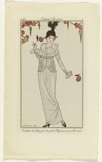 Journal des Dames et des Modes, 1912, Costumes Parisiens, no. 8; Tailleur de Satin gris de perle. Chapeau de paille noir.
