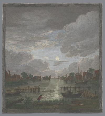 Gezicht op een kanaal in de omgeving van de stad Haarlem bij maanlicht; Vûe du canal proche de Haerlem