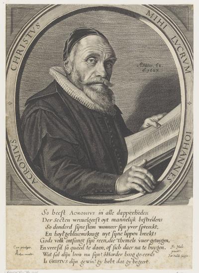 Portret van Johannes Acronius op 62-jarige leeftijd