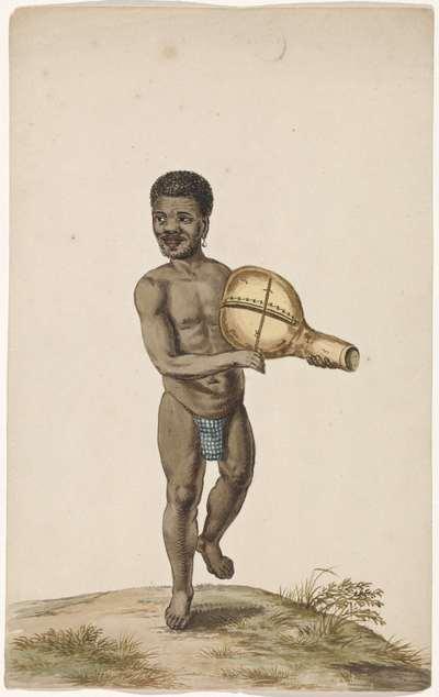 Afrikaanse musicerende man met kalebasinstrument