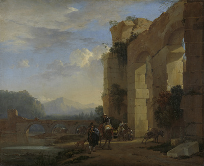 Image from object titled Muleteers beside an Italian Ruin