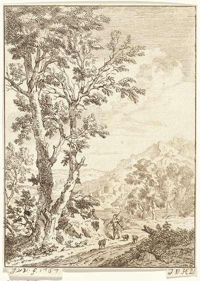 Image from object titled Landschap met een herder op een landweg