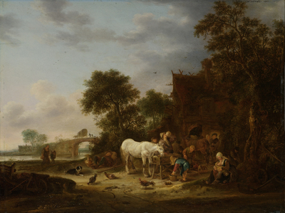 Image from object titled Country inn with a horse at the trough
