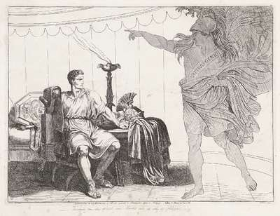 Brutus en de geest van Caesar; Apparizione di un fantasma a Bruto avanti la Battaglia data a Filippi; Geschiedenis van het Romeinse Rijk; Frontespizio della Istoria Romana